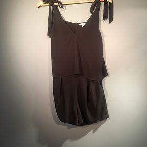 Pants - 4/25 H&M Black Romper Open Slit Back Dressy Pocket